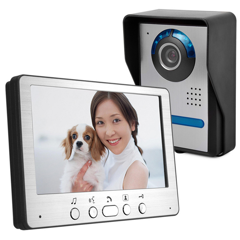 7 inch Video Intercom Video Door Phone Intercom System Door Release Unlock Color Outdoor Doorbell Camera 700TVL IR Night Vision for 2 apartment video intercom fingerprint recognition password 700tvl sony camera unlock intercom video phone ip65 waterproof