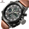 GOLDENHOUR Men Swim Quartz Digital Watches Waterproof Outdoor Sports Date Military Male Clock And Genuiue Leather