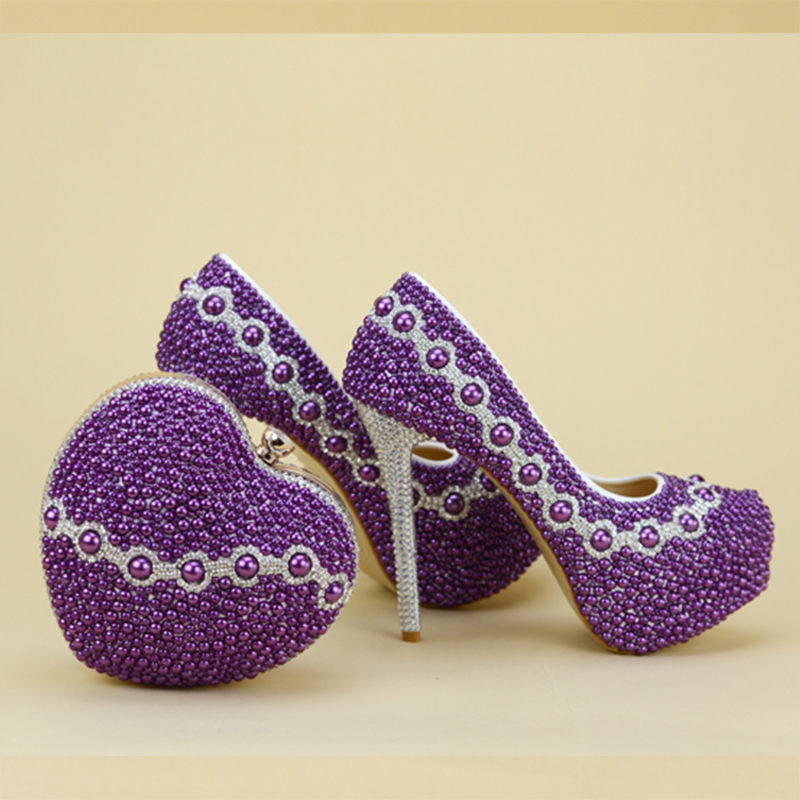 2017 Newest Design Purple Pearl Bridal Wedding Shoes With Lovely Matching font b Bag b font
