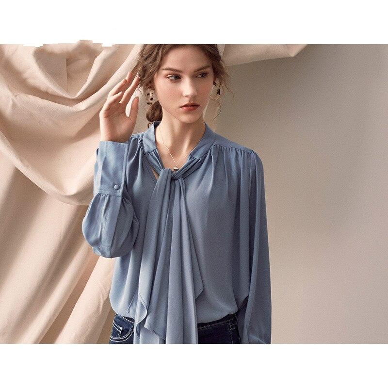 Manches longues chemises Blouse femmes col montant hauts femme élégant décontracté lâche hauts et chemisiers mode vêtements 2019 printemps Blusa - 3