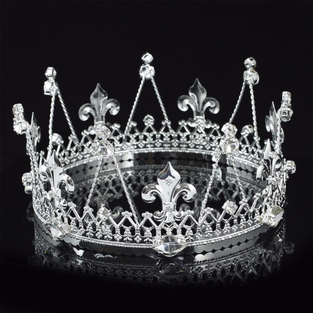 Crowns full circle round tiaras rhinestones crystal wedding bridal - Peacock Star Men S Pageant Imperial Party Tiara Full Circle Round Silver Color King Crown Ct1818