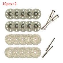 10 teile/satz 22/30mm Mini Diamant Sägeblatt Silber Trennscheiben mit 2X Anschluss Schaft für Dremel Bohrer fit Dreh Werkzeug