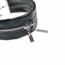 Black Leather Chocker Necklace with zipper