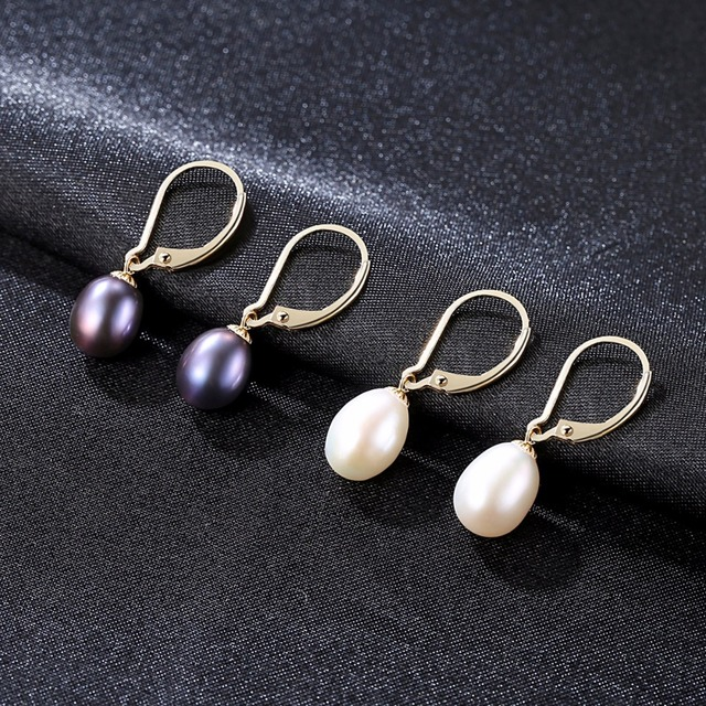 LUOTEEMI Drop Earrings Gold Silver Freshwater Natural Pearl Round Elegant Pure Love For Women Jewelry Alibaba Express Brincos