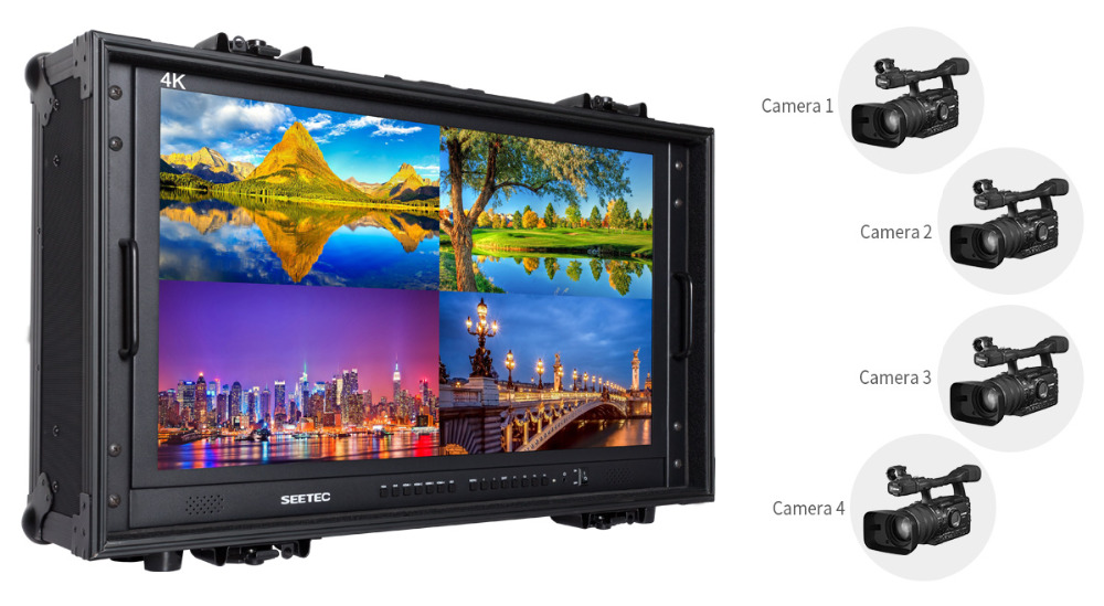 4K280-9HSD-CO 3840x2160 UHD resolution director monitor with quad split