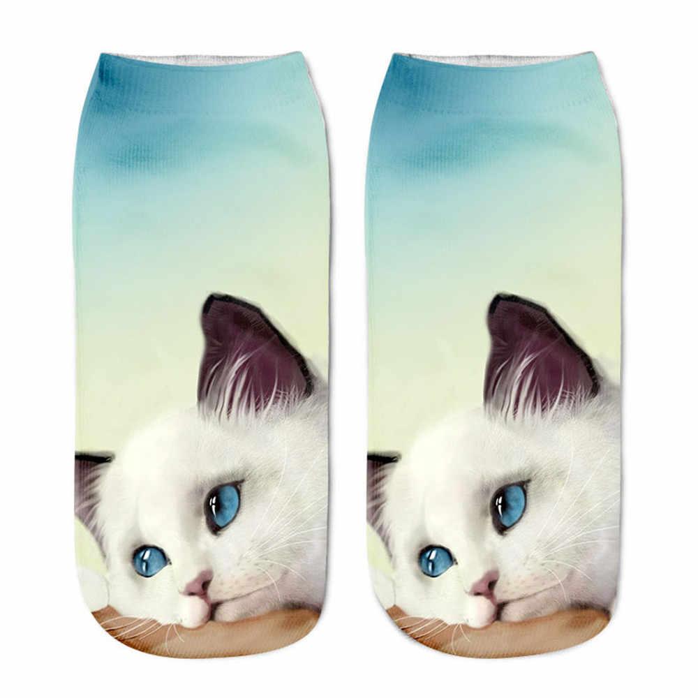 Style populaire femmes chaussettes drôle unisexe courtes chaussettes belle 3D chat imprimé cheville décontracté court été chaussettes calcetines mujer