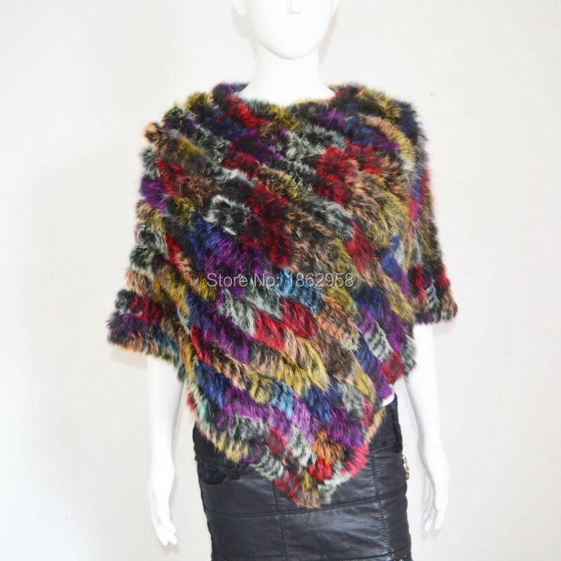 SJ787 Colorful Women Hot Sale Women Stylish Rabbit Fur Cape Stole