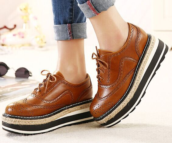88ee29be59b 2015 Vintage Oxford Shoes For women Brown PU Leather Flat Platform Creepers  Shoes Woman Flats F299 Free Shipping