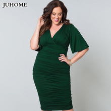 Plus Size bodycon office Dresses Women clothing summer tunic elegant Fashion Big size midi pencil dress Pleated vestido de festa