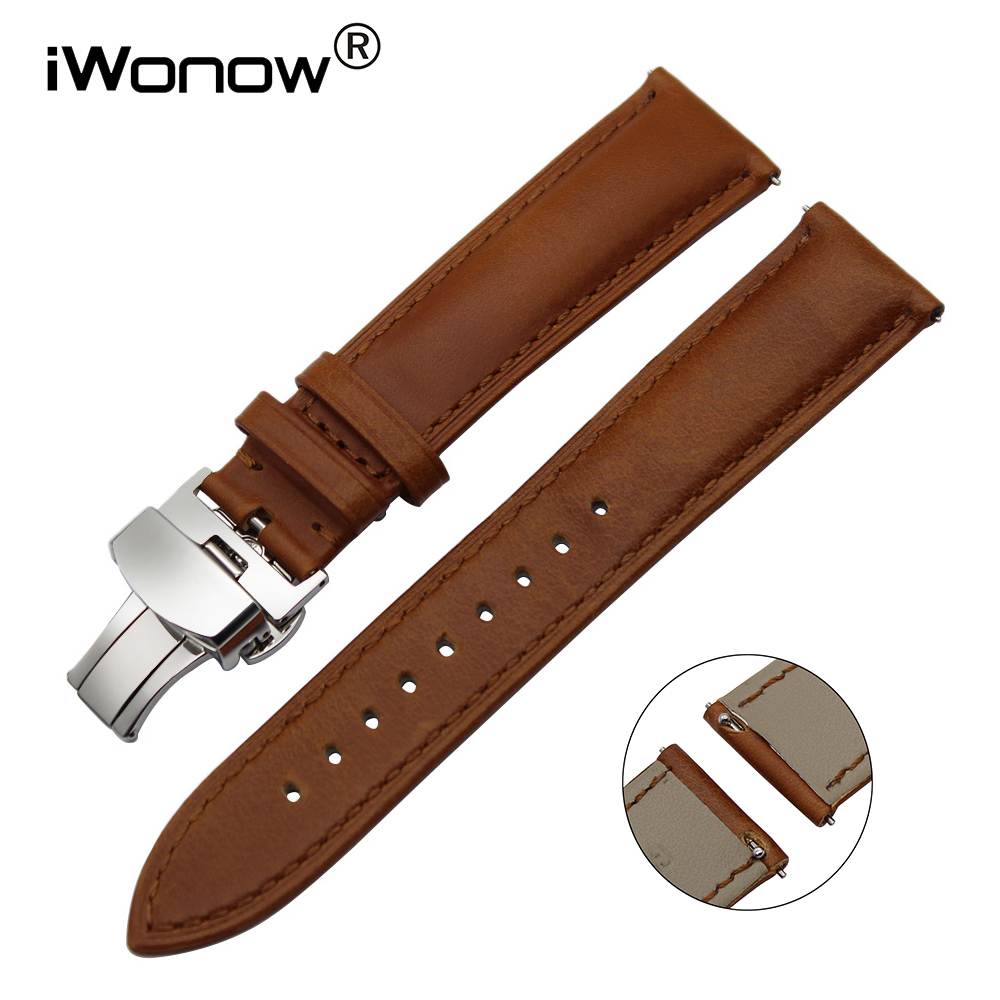 22mm Italy Genuine Leather Watchband Quick Release Strap for LG G Watch Urbane Pebble Time Moto 360 2 46mm Asus ZenWatch 1 2 Men hot 22mm white 100% genuine leather watch strap bands for motorola moto 360 smart watch
