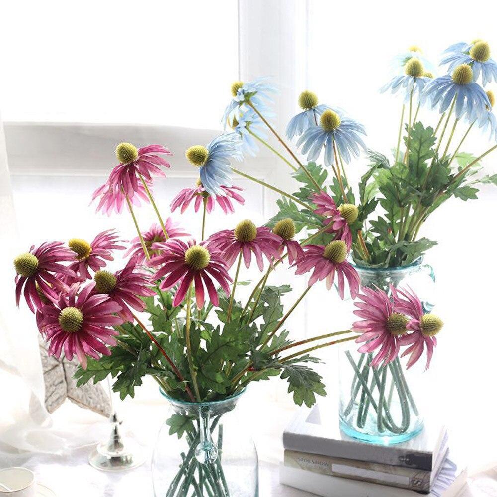 1pcs Flocking Artificial Rural Wild Chrysanthemum Artificial Fake