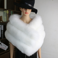 white wedding fur ponchos and capes real fox shawls warps women winter long luxury scarf stole gray pink black S37