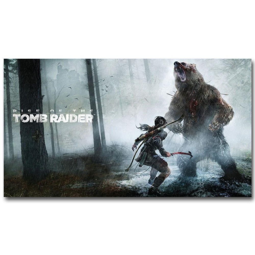 Rise Of The Tomb Raider Art Silk Fabric: Rise Of The Tomb Raider Game 2 Wall Sticker Home