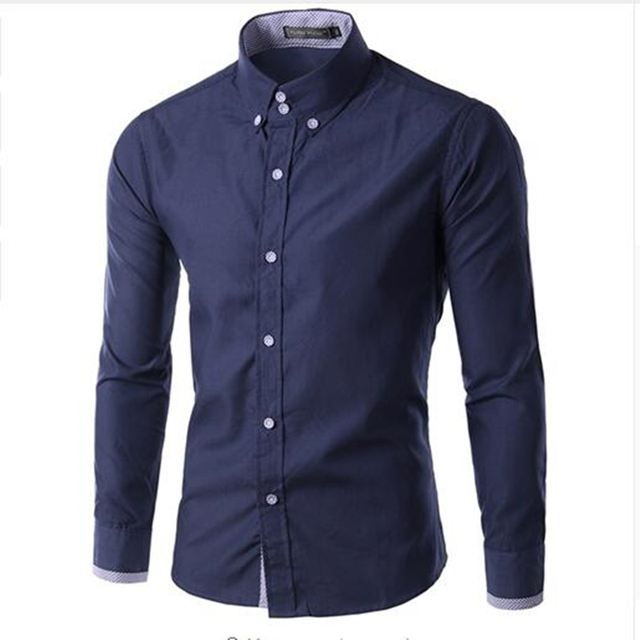 2018 Spring Fashion Brand Men S Shirt Mens Clothing Casual Long-Sleeved  Dark Blue Color Dress 6c410fb73e2