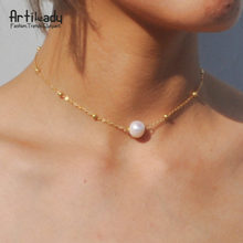 genuine pearl choker necklace fashion gold color chain with freshwater pearl necklace for women jewelry(China)