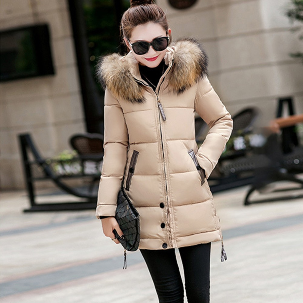 Jacket Coat Winter 2018 New Plus Size   Parka   Long Hooded Outerwear With Fur Collar Slim Fashion Coats Female   Parka   Winter Coat