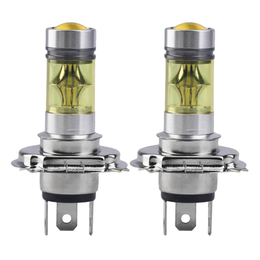 2pcs H4 100W 4300K LED Yellow Projector Fog Driving Light Bulbs Lamp DRL Energy Saving Environmental Protection Stable
