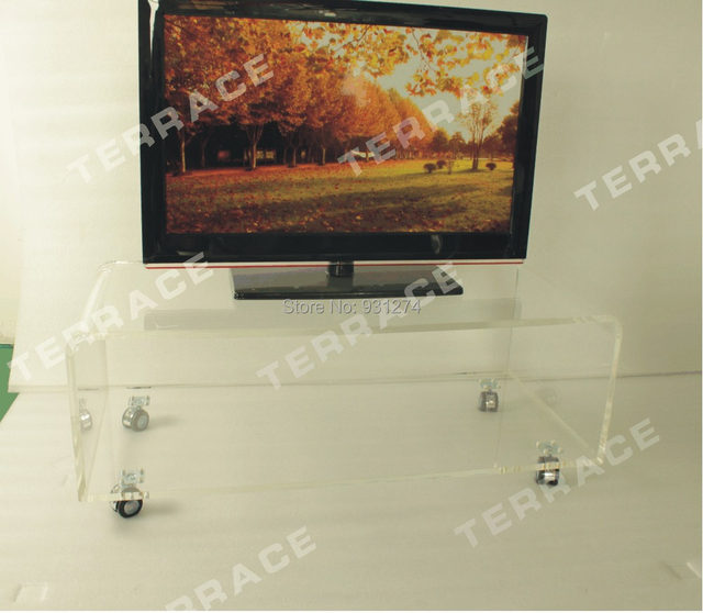 Clear Acrylic Tv Stand On Wheels Lucite Rolling Occasional Side Coffee Tea Tables