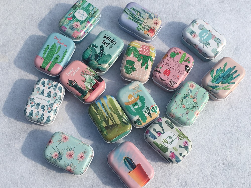32Pc Exquisite Cartoon Cactus Iron Box Candy Jewelry Pill Cases Mini Storage House Decoration Collectables Display