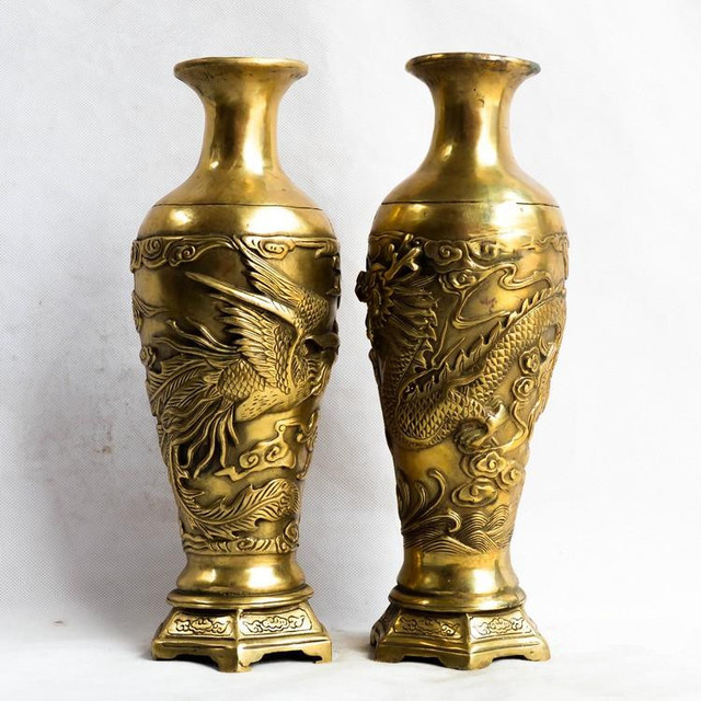 TNUKK pair of Chinese Vintage Brass fengshui dragon phoenix Vase ...