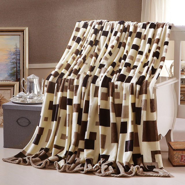 Plaid Coral/flannel fleece Blanket summer comforter Air conditioning Throws winter soft bedsheet twin queen full king size