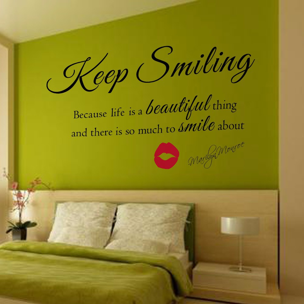 Marilyn Monroe Keep Smiling Quote Vinyl Wall Art Sticker ...