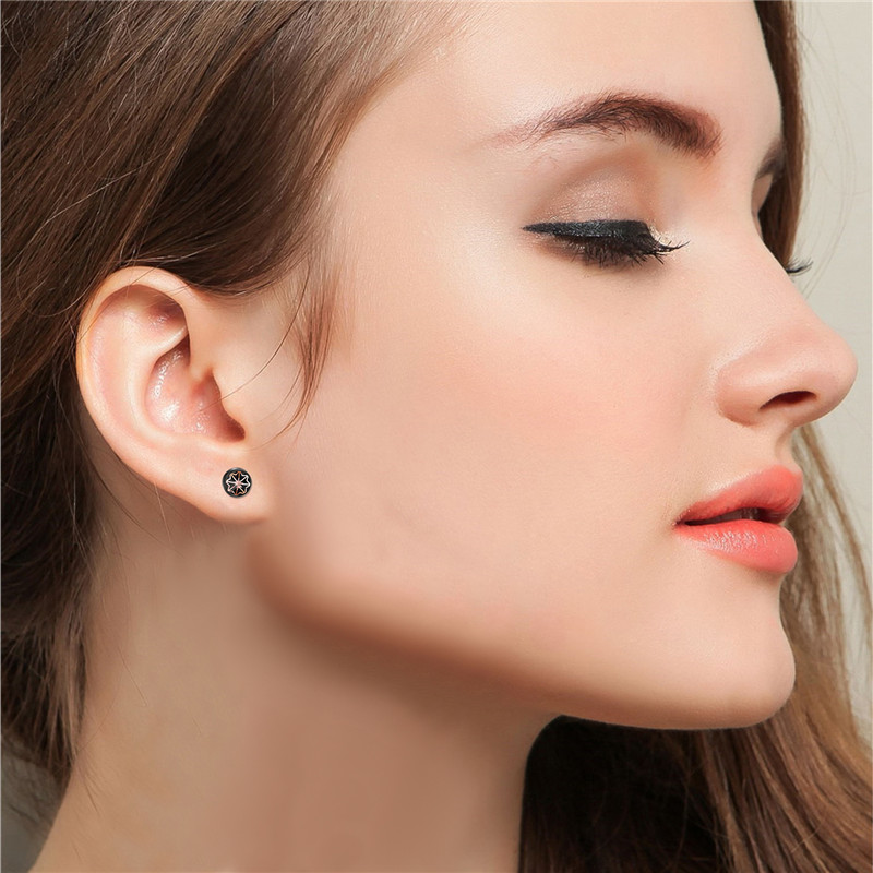 Boniskiss Black Gold Silver Stainless Steel Earrings For Men Fashion Women Stud Earring Round Male Jewelry Hip Hop Gift In From