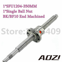 BallScrew 1204 SFU1204 L 350mm Rolled Ball Screw With Single Ballnut For CNC Parts BK BF10