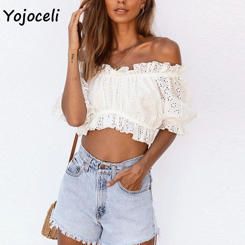 Yojoceli sexy 2019 summer off shoulder lace   blouses     shirt   tops women ruffle cropped tops
