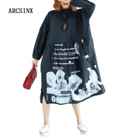 ARCSINX Shirt Dress Women Plus Size 8XL 7XL 6XL 5XL 4XL 3XL Autumn Long Sleeve Women's Dress Casual Korean Dresses Big Sizes