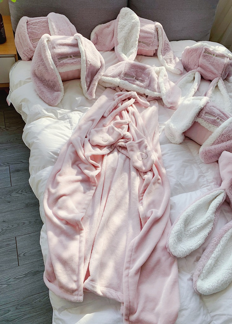 Cute Pink Comfy Blanket Sweatshirt Winter Warm Adults and Children Rabbit Ear Hooded Fleece Blanket Sleepwear Huge Bed Blankets 144