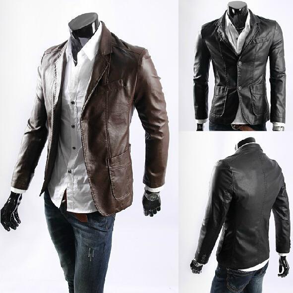 Man Plus Size L-6XL Men Suit Coat Long Sleeve Turn-down Men's Casaul Slim Pu Leather Jacket Winter Formal Outerwear Coats LC016