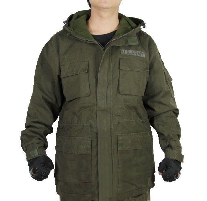 men US ARMY 101 airborne division military long flight jacket outdoor windbreaker coat wind shell cotton padded winter outdoors - Anna's holiday store