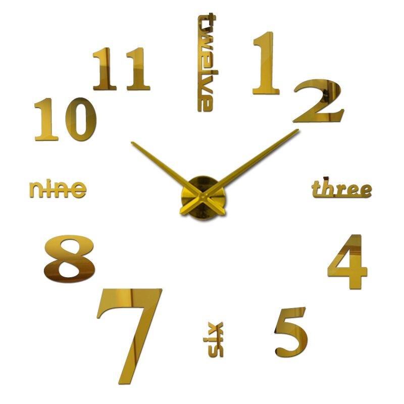 הגעה חדשה קוורץ שעונים אופנה שעונים 3d אמיתי גדול קיר שעון מיהר מראה מדבקת diy לסלון תפאורה