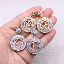 3 pairs Letter earrings charm mix colors Asymmetry druzy earrings handcrafted wholesale jewelry gift for women 3683