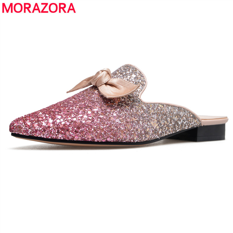 MORAZORA Drop shipping 2020 new summer women mules shoes pointed toe slippers women high quality fashion