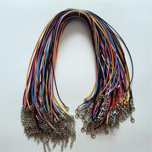 Wholesale HOT Lobster clasp 1.5mm 100pcs mixed Wax Leather Cord necklace rope pendant 45cm jewelry diy pendants
