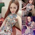 2016 summer retro peony print cheongsam dresses chinese women qipao ball gown dress