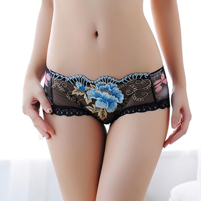 Sexy Women Boxer Shorts Lace   Panties   Transparent Boyshort The embroidery Underpants Female Knickers Full Lace Boxers Underwear