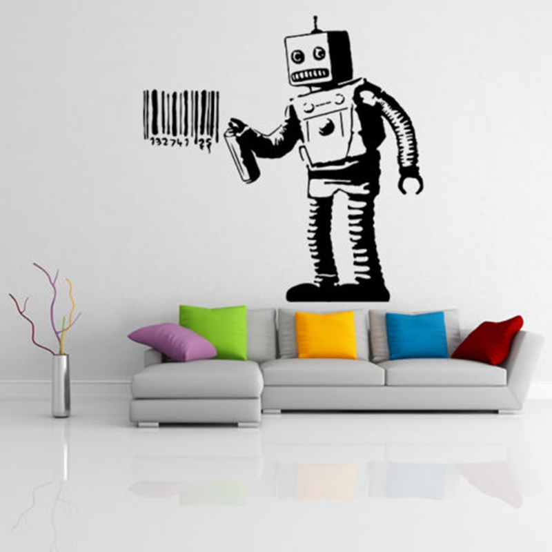 ZN Banksy Vinyl Wall Decal Robot Graffiti Wall sticker Art Home Living room bedroom Decorative murals in Wall Stickers from Home Garden
