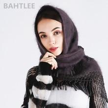 وشاح حجاب شتوي للسيدات من BAHTLEE بأشكال أنجورا وأرانب وعمامة شال ثلاثي الشكل محبوك من الفرو الحقيقي عباءة الرأس