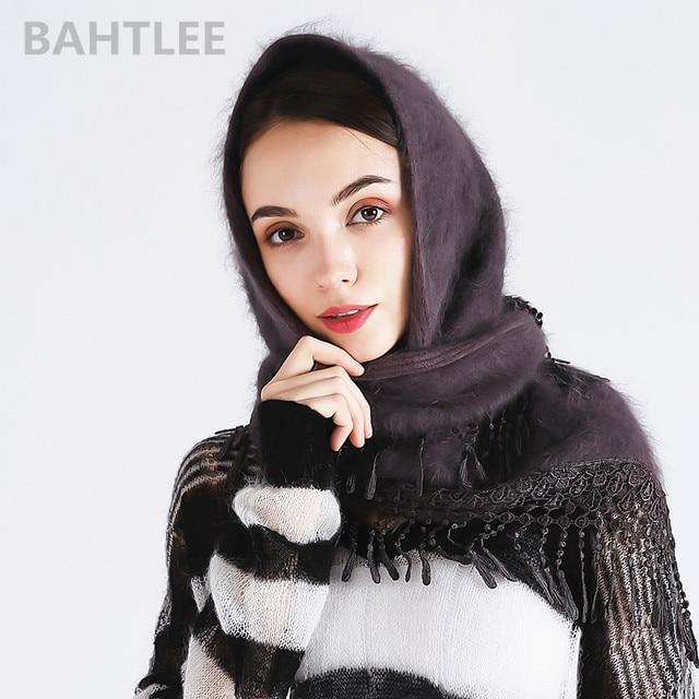 Bahtlee冬イスラム教徒女性のアンゴラウサギターバンヒジャーブスカーフポンチョ三角ショールニットリアルファーラップマント岬