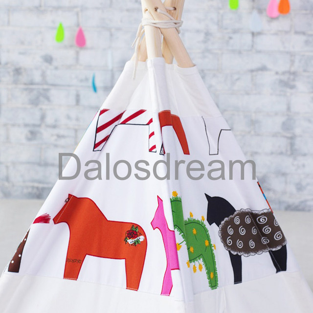 DalosDream Indian Design Kids Teepee Horse Pattern Children Toy Tents Natural Cotton Canvas Indoor Children Teepee Tent For Kids  sc 1 st  Aliexpress & Online Shop DalosDream Indian Design Kids Teepee Horse Pattern ...