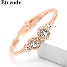 Crystal Round Cuff Bracelets & Bangles For Women Rose Gold/Silver Color Delicate Fashion Jewelry Bracelet Christmas Gift chic father christmas cuff bracelet jewelry for women