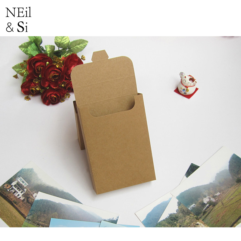 Gift Postcard Box Wedding Party Invitation Phone Accesseries Kraft Paper Boxes Natural Brown Free Shipping