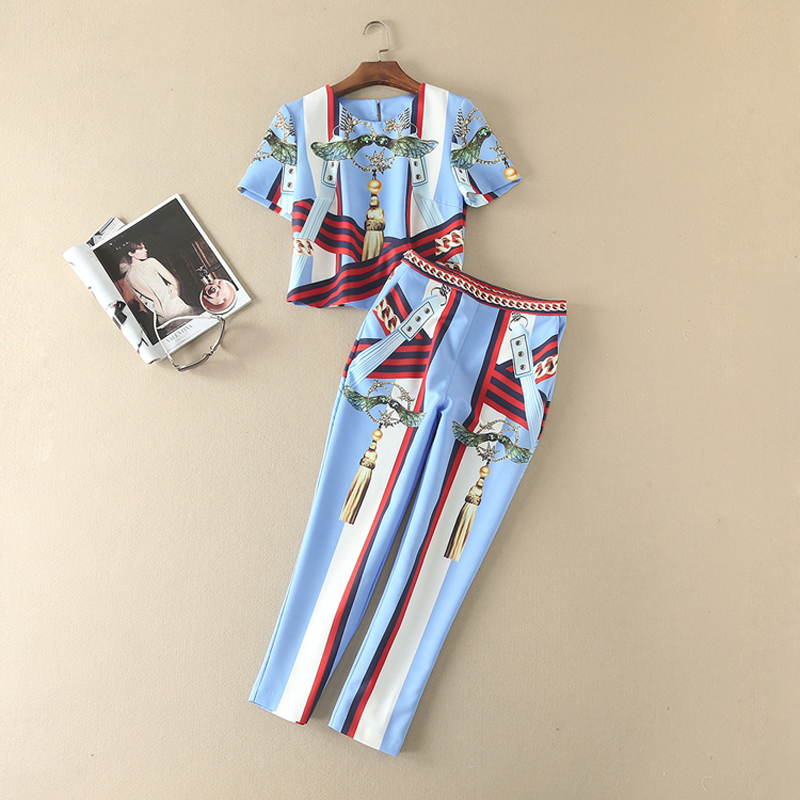 Lady Clothes Runway Designer European Style 2018 Summer Print Long Sleeve Short Blouse + Pants Set For Women Cute Twinsets