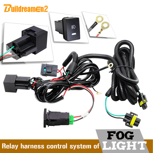Buildreamen2 Car Fog Light H11 Wiring Harness Fuse Relay Cable Switch Kit For Porsche Opel Subaru Jaguar Land Rover Mitsubishi