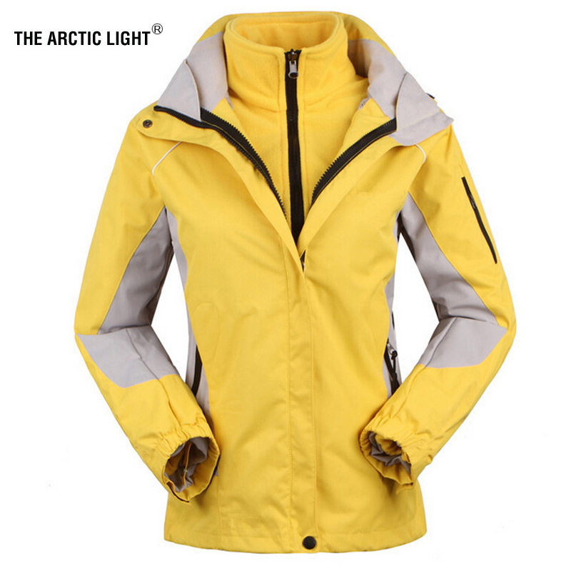 Les vestes de ski pour femmes lumière arctique + veste en polaire dame manteau de sport de plein air costume chaud imperméable 2 en 1 femme vêtements de ski manteau