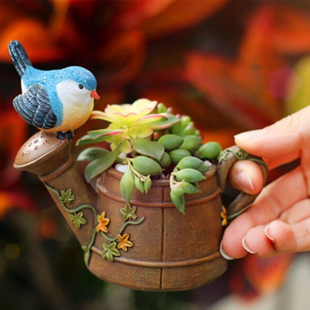 2017 Newest Birds And Showers Flower Succulent Pot Bonsai Planter Flower Pots Planters Plant Bed Box House Table Decorations