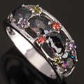 Amazing 4 pcs of Oval Mystic Rainbow Jewelry Fashion Women's Party Jewelrys 925 Sterling Silver Rings Size 6 7 8 / 9 S0813